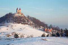 Banska Stiavnica - The baroque calvary built in years 1744 - 1751 in winter Royalty Free Stock Photography