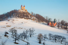 Banska Stiavnica - The baroque calvary built in years 1744 - 1751 in winter evening Royalty Free Stock Images