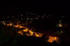 Banska Stiavnica bij nacht Stock Afbeeldingen