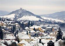Banska Stiavnica - calvary in winter Royalty Free Stock Photography