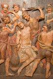 Banska Stiavnica - The carved relief of Flagellation as the part of baroque Calvary from years 1744 - 1751. Royalty Free Stock Photos