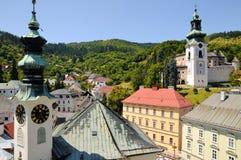 Banska Stiavnica City Hall and Old castle Stock Photo