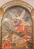 Banska Stiavnica - de gesneden hulp van het gebed van Jesus in Gethsemane-tuin als deel van barokke Calvary van jaren 1744 - 1751 Stock Fotografie