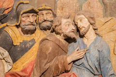 Banska Stiavnica - The detail of carved relief of Betrayal of Judas as the part of baroque Calvary Royalty Free Stock Images