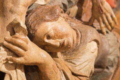 Banska Stiavnica - The detail of carved statue of Pieta (Mary of Magdala) as the part of baroque Calvary stock photography