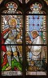 Banska Stiavnica - die Fensterscheibe von gotischer Kirche St. Katharine mit heiligem Georg von 19 cent Stockbilder