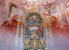 Banska Stiavnica - fresco and altar in the lower church of baroque calvary by Anton Schmidt from years 1745. BANSKA STIAVNICA, SLOVAKIA - FEBRUARY 20, 2015: The stock photo
