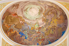 Banska Stiavnica - The fresco of Christ in the glory of heaven scene on the cupola of parish church from 18. cent. BANSKA STIAVNICA, SLOVAKIA - FEBRUARY 5, 2015 royalty free stock photos