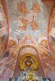 Banska Stiavnica - The fresco in the lower church of baroque calvary by Anton Schmidt from years 1745. BANSKA STIAVNICA, SLOVAKIA - FEBRUARY 20, 2015: The fresco Royalty Free Stock Images