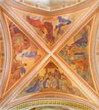 Banska Stiavnica - The fresco of Nativity scene on the ceiling of parish church from year 1910 by P. J. Kern. Royalty Free Stock Photography