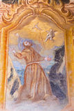 Banska Stiavnica - The fresco of the Stigmatization of St. Francis of Assisi in the lower church of baroque calvary Royalty Free Stock Photography