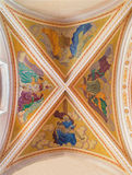 Banska Stiavnica - The frescoes on the ceiling of parish church from year 1910 by P. J. Kern. Stock Photo