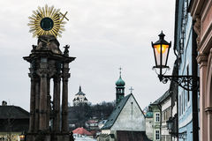 Banska Stiavnica historical cityscape with monumental plague col Royalty Free Stock Image