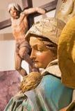 Banska Stiavnica - il dettaglio della statua scolpita di Madonna (Fligh al gruppo scultoreo dell'Egitto) come la parte del calvar fotografia stock libera da diritti