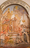 Banska Stiavnica - The Jesus is brought before Herodes carved relief as the part of baroque Calvary Royalty Free Stock Photo