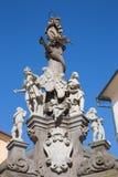 """Banska Stiavnica - la columna barroca de Immaculata por el †1663 de Dioniz Ignac Staneti """"1725 Imágenes de archivo libres de regalías"""