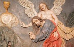 Banska Stiavnica - le soulagement découpé de la prière de Jésus dans le jardin de Gethsemane comme partie de calvaire baroque Image libre de droits