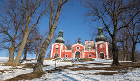 Banska Stiavnica - The lower church of baroque calvary built in years 1744 - 1751. In winter royalty free stock photo