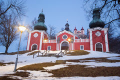 Banska Stiavnica - The lower church of baroque calvary built in years 1744 - 1751 in winter Stock Images