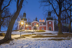 Banska Stiavnica - The lower church of baroque calvary built in years 1744 - 1751 in winter dusk. Royalty Free Stock Images