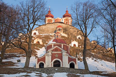 Banska Stiavnica - middle and superior church baroque calvary built in years 1744 - 1751 in winter. Stock Images