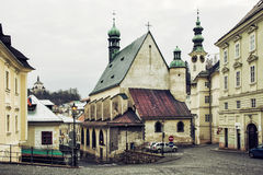 Banska Stiavnica with New castle, Saint Catherine's church and t Stock Images
