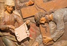 Banska Stiavnica - o Veronica cinzelado do relevo limpa a cara de Jesus como a parte do calvário barroco Imagens de Stock Royalty Free