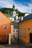 Banska Stiavnica old street and Old castle, Slovakia Stock Images
