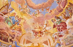 BANSKA STIAVNICA SISTANI, LUTY, - 20, 2015: Szczegół fresk na cupola w środkowym kościół barokowy calvary obrazy stock
