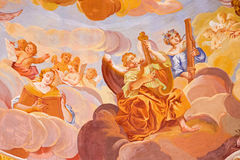 BANSKA STIAVNICA, SLOVAKIA, 2015: The detail of fresco on cupola in the middle church of baroque calvary Royalty Free Stock Photography