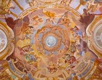 BANSKA STIAVNICA, SLOVAKIA - FEBRUARY 20, 2015: The fresco on cupola in the middle church of baroque calvary Royalty Free Stock Photos
