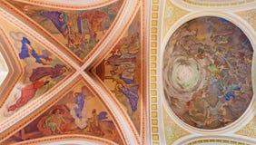 BANSKA STIAVNICA, SLOVAKIA - FEBRUARY 5, 2015: The fresco of Nativity scene on the ceiling of parish church from year 1910 Royalty Free Stock Images