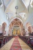 BANSKA STIAVNICA, SLOVAKIA - FEBRUARY 5, 2015: The nave of Parish church Royalty Free Stock Photography