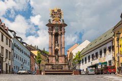 Banska Stiavnica, Slovakia - May 25, 2016: Sculpture of the Holy. Trinity in the historic mining town of Banska Stiavnica Royalty Free Stock Photos