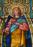 Banska Stiavnica - St Joseph sur la vitre dans l'église de St Elizabeth de 19 cent Photos libres de droits