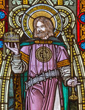 Banska Stiavnica - St. Stephen king of Hungary on the windowpane in st. Elizabeth church from 19. cent. Stock Photo
