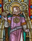 Banska Stiavnica - St Stephen konung av Ungern på fönsterrutan i kyrka för st Elizabeth från 19 cent Arkivfoto