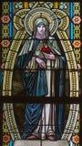 Banska Stiavnica - St Therese av Lisieux på fönsterrutan i kyrka för st Elizabeth från 19 cent Fotografering för Bildbyråer