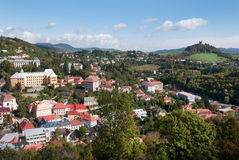 Banska Stiavnica town - historical center with calvary hill Royalty Free Stock Images