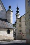 Banska Stiavnica - townhall and st. Katharine stock photo
