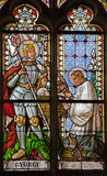 Banska Stiavnica - The windowpane from st. Katharine gothic church with holy Georg from 19. cent. stock images