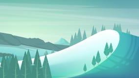 bansko保加利亚横向山冬天 免版税库存图片