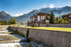 Bansko, Bulgaria view at summer with Hotel, river Royalty Free Stock Images