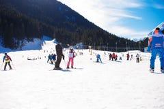Bansko Bulgarien, Januari 27, 2016: Skidar skidar semesterorten Bansko, Bulgarien, lutningar, och berget med sörjer träd, att gå  royaltyfri fotografi