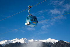 Bansko Cable Car Cabin And Snow Peaks, Bulgaria Royalty Free Stock Images