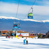 Bansko Cable Car Cabin And Snow Peaks, Bulgaria Royalty Free Stock Photography
