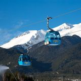 Bansko cable car cabin and snow peaks, Bulgaria Royalty Free Stock Image