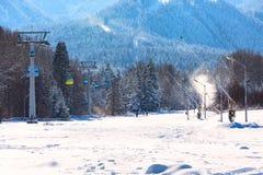 Bansko cable car cabin and snow peaks, Bulgaria Stock Image