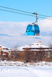 Bansko cable car cabin and snow peaks, Bulgaria Stock Photography
