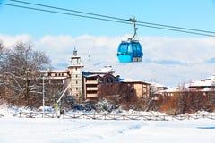 Bansko cable car cabin and snow peaks, Bulgaria Stock Photos
